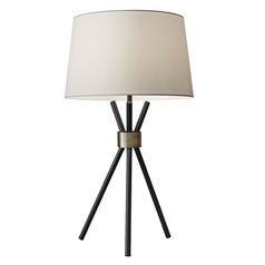 Mid-Century Modern Table Lamp Black W. Antique Bronze Benson by Adesso Home Lighting