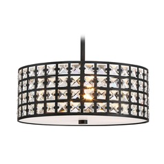 Quoizel Lighting Luxury Imperial Bronze Pendant Light with Drum Shade