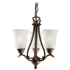 Kichler Lighting Kichler Mini-Chandelier with White Glass in Tannery Bronze Finish 1731TZ