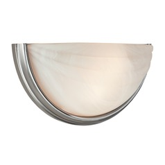Modern Sconce Wall Light with Alabaster Glass in Satin Nickel Finish
