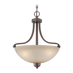 2-Lt Pendant Light in Harvard Court Bronze Finish - French Scavo Glass