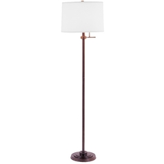 Design Classics Lighting Modern Bronze Floor Lamp with White Drum Shade 6557-20/SH7212 KIT