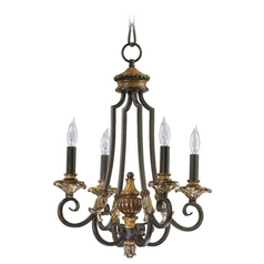 Quorum Lighting Capella Toasted Sienna with Golden Fawn Mini-Chandelier