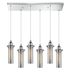Elk Lighting Fulton Polished Chrome Multi-Light Pendant with Cylindrical Shade