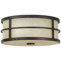 Modern Flushmount Light with Amber Glass in Grecian Bronze Finish