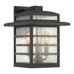 Seeded Glass Outdoor Wall Light Bronze Plaza by Quoizel Lighting