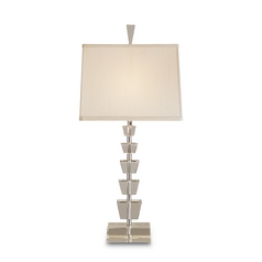 Modern Table Lamp with Beige / Cream Shade in Crystal/nickel Finish