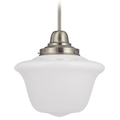 14-Inch Vintage Style Schoolhouse Pendant Light in Satin Nickel