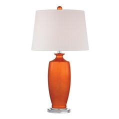 Table Lamp with White Shades in Tangerine Orangewith Polished Nickel Finish