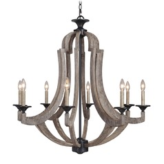 Jeremiah Winton Weathered Pine, Bronze Chandelier
