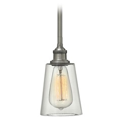 Hinkley Lighting Gatsby Polished Antique Nickel Mini-Pendant Light with Conical Shade
