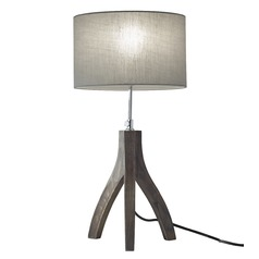Adesso Home Sherwood Pine Wood with Rustic Wash Black Table Lamp with Drum Shade