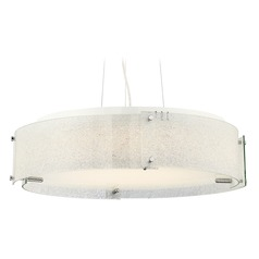 Lite Source Kaelin Chrome LED Pendant Light with Drum Shade
