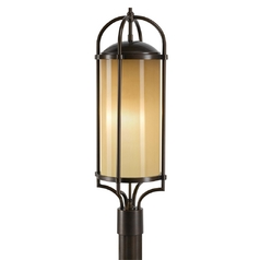 Modern Post Light with Beige / Cream Glass in Heritage Bronze Finish