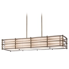 Kichler Lighting Kichler Modern Island Light with White Shades in Bronze Finish 42099CMZ