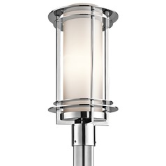 Kichler Post Light with White Glass in Polished Stainless Steel Finish