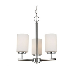 Sea Gull Lighting Modern 3-Light Mini Chandelier with White Glass in Chrome