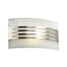 Modern Sconce Wall Light with White Glass in Satin Nickel Finish