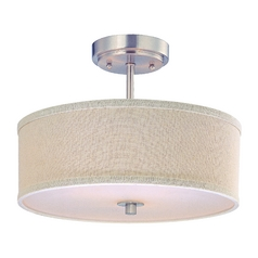 Drum Shade Ceiling Light in Satin Nickel Finish - 14 Inches Wide
