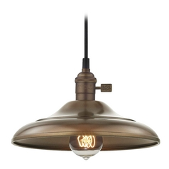 Design Classics Lighting Vintage Hoyt Bronze Curved Shade Mini-Pendant Light  CA1-220 SHD1-220
