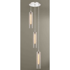Gala Fuse Satin Nickel Multi-Light Pendant with Cylindrical Shade