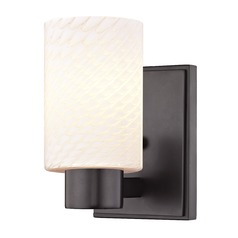 White Art Glass Sconce Bronze