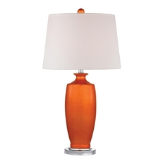 Tangerine Orange Table Lamp with White Shade
