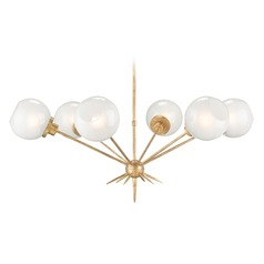 Mid-Century Modern Chandelier Washed Gold Leaf Shelly by Currey and Company Lighting