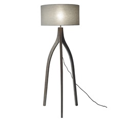 Mid-Century Modern Floor Lamp Pine Wood with Rustic Wash Black Sherwood by Adesso Home Lighting