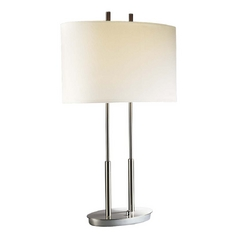 Modern Table Lamp with White Shades in Brushed Nickel Finish