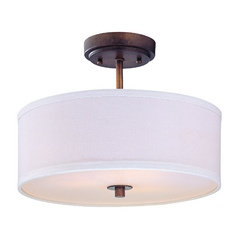 Semi Flush Light With White Drum Shade 14 Inches Wide