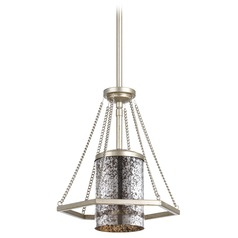 Progress Lighting Indi Silver Ridge Mini-Pendant Light with Cylindrical Shade
