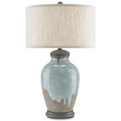 Currey and Company Chatswood Blue-Green/gray/hiroshi Gray Table Lamp with Drum Shade