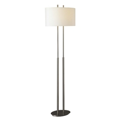 Modern Floor Lamp with White Shades in Brushed Nickel Finish