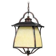 Outdoor Hanging Light with Amber Glass in Burnished Copper Finish