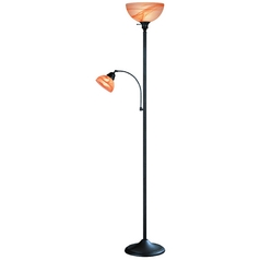 Torchiere Lamp with Multi-Color Glass in Dark Brown Finish