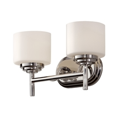Feiss Lighting Modern Bathroom Light with White Glass in Polished Nickel Finish VS26002-PN