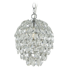 Contemporary Crystal Chandelier Pendant Light In Chrome