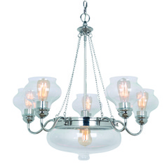 Industrial Chandelier with Center Bowl Polished Nickel Yorktown by Craftmade