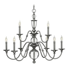 Hinkley Eleanor 2-Tier 9-Light Chandelier in Polished Antique Nickel