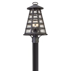 Seeded Glass LED Post Light Vintage Iron Troy Lighting