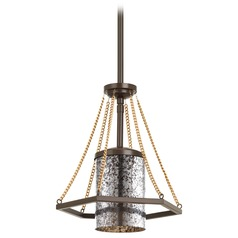 Progress Lighting Indi Antique Bronze Mini-Pendant Light with Cylindrical Shade