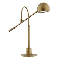 Lite Source Randall Antique Brass LED Swing Arm Lamp with Bowl / Dome Shade