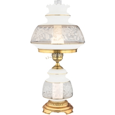 Table Lamp with Brown Glass in Gold Polished Flem Finish