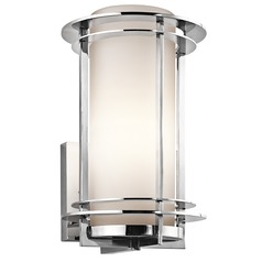 Kichler Outdoor Wall Light With White Glass In Stainless Steel Finish