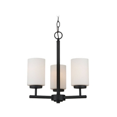 Modern Mini-Chandelier with White Glass in Blacksmith Finish