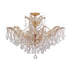 Crystal Chandelier in Polished Gold Finish