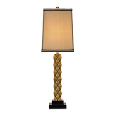 Modern Table Lamp with Gold Shade in Antique Brass/black Finish