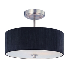 Design Classics Lighting Drum Ceiling Light with Black Shade - 14-Inches Wide DCL 6543-09 SH7561 KIT