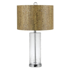Table Lamp with Wood Cork Shade in Chrome Finish